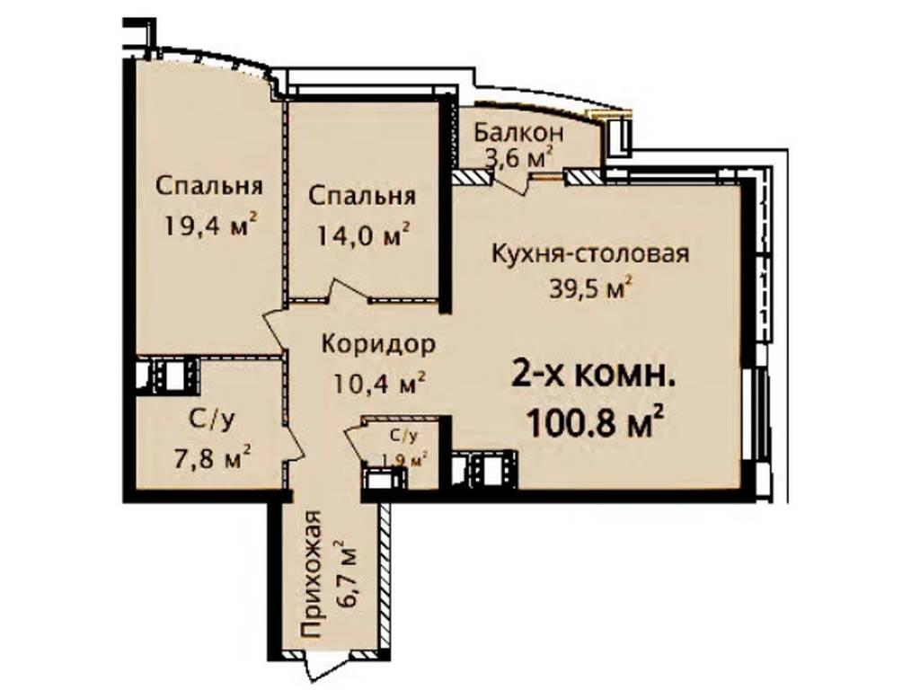 3-комнатная квартира, 100.80 м2, 110000 у.е.