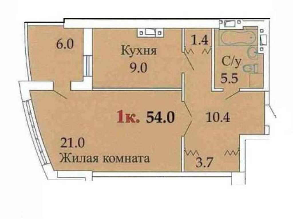 1-комнатная квартира, 54.20 м2, 37000 у.е.