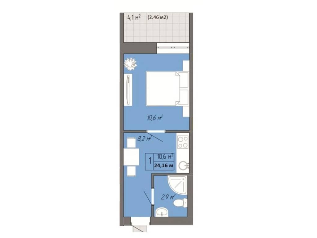 1-комнатная квартира, 24.16 м2, 18500 у.е.