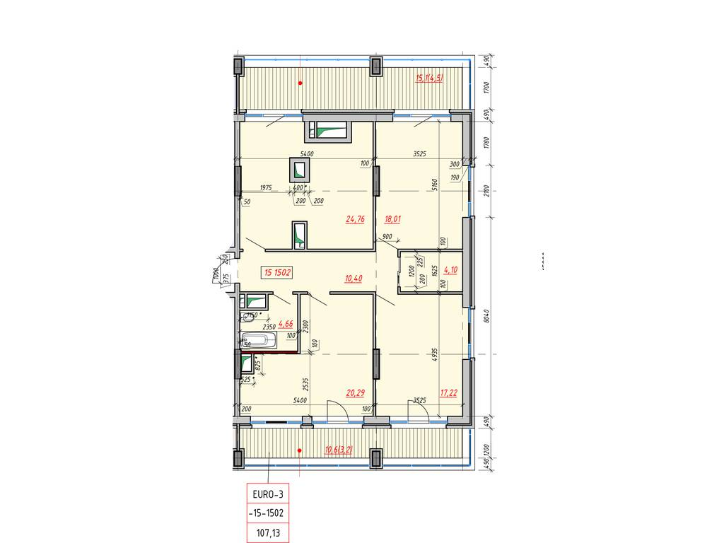 3-комнатная квартира, 107.13 м2, 91061 у.е.