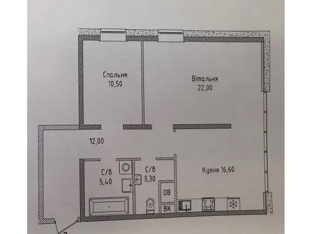 2-комнатная квартира, 69.80 м2, 75400 у.е.