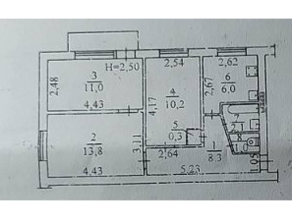 3-комнатная квартира, 53.60 м2, 34000 у.е.