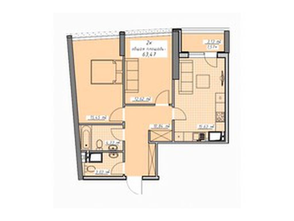 2-комнатная квартира, 63.00 м2, 59027 у.е.