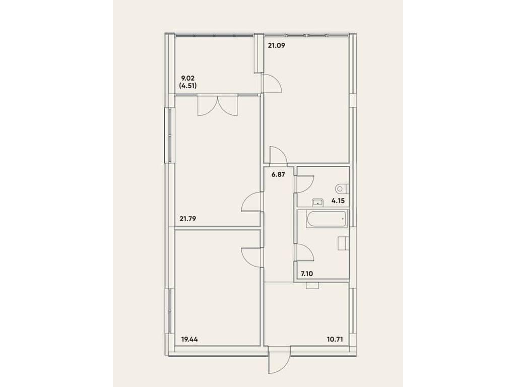 2-комнатная квартира, 95.67 м2, 129155 у.е.