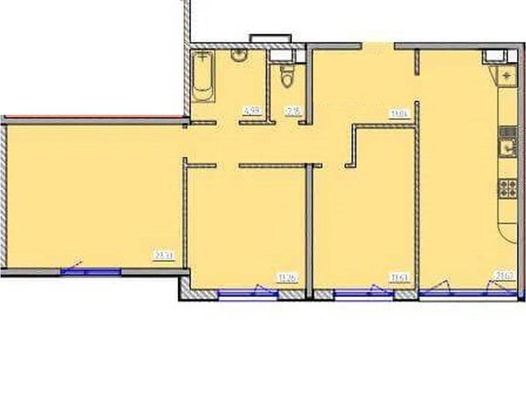 3-комнатная квартира, 90.00 м2, 67950 у.е.