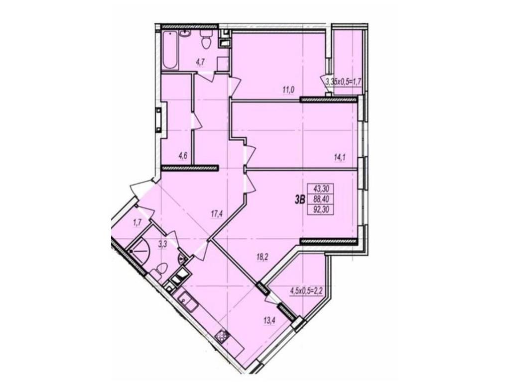 3-комнатная квартира, 94.00 м2, 67000 у.е.
