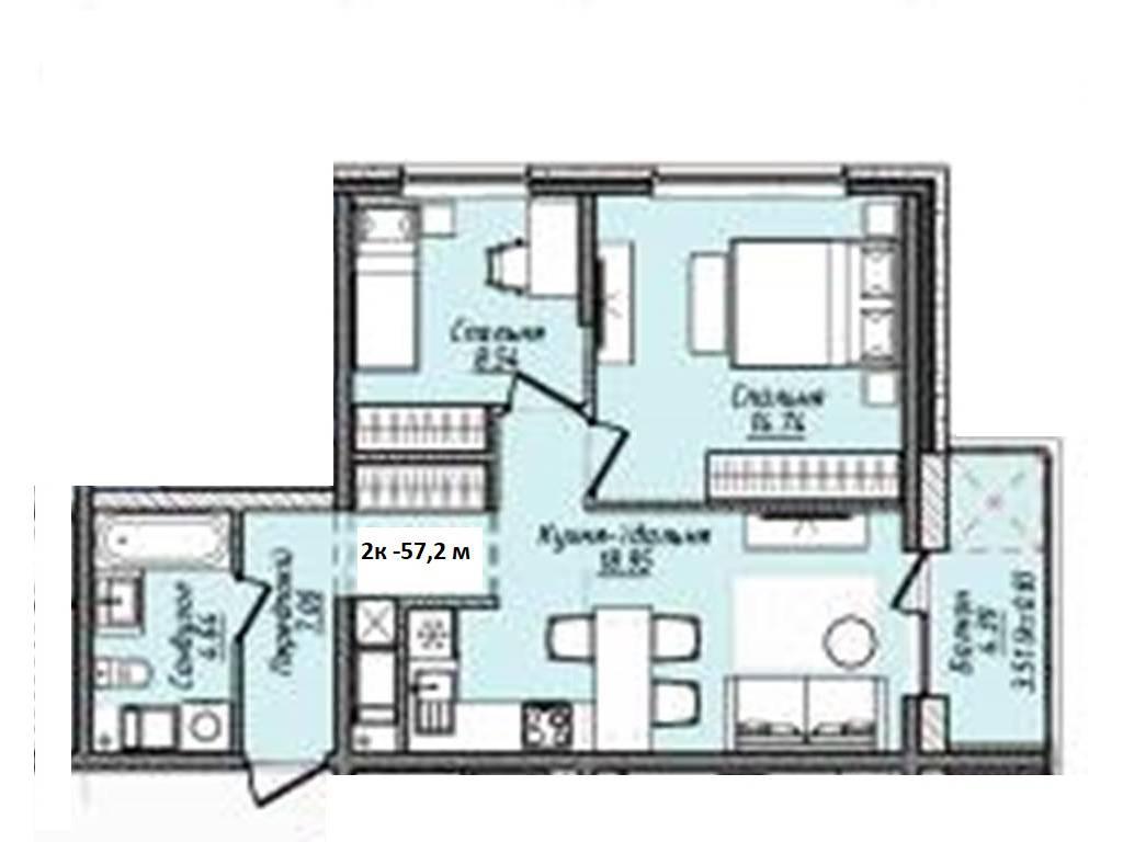 2-комнатная квартира, 57.20 м2, 56914 у.е.