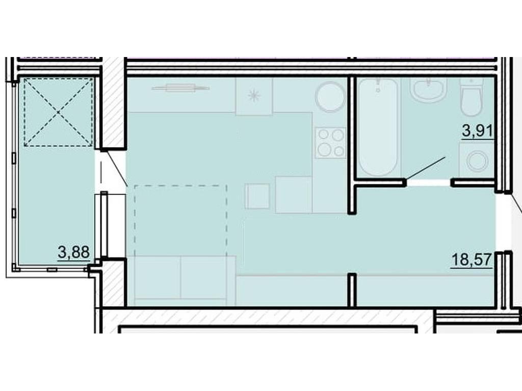 1-комнатная квартира, 25.97 м2, 20516 у.е.