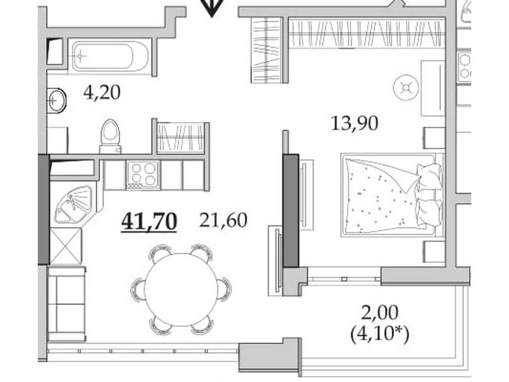 1-комнатная квартира, 41.70 м2, 33540 у.е.