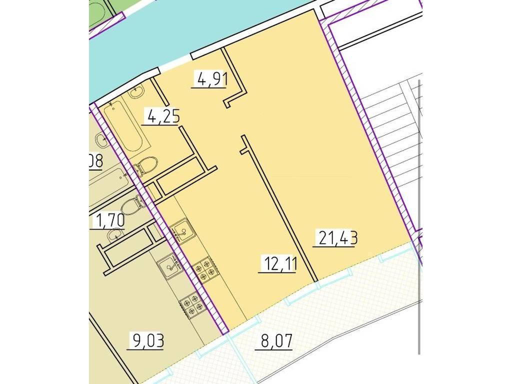 1-комнатная квартира, 45.40 м2, 71000 у.е.