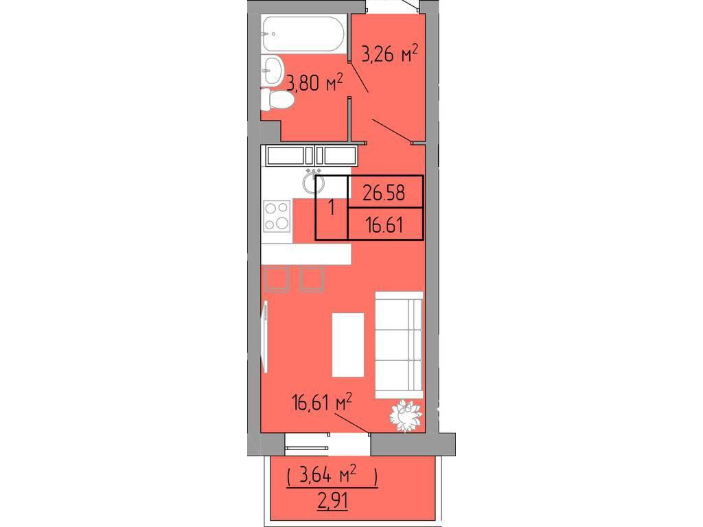 1-комнатная квартира, 26.60 м2, 34000 у.е.