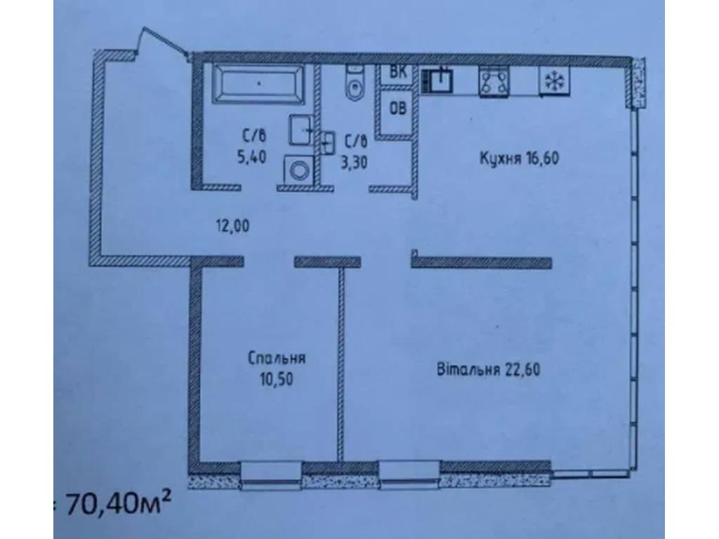2-комнатная квартира, 70.40 м2, 78500 у.е.