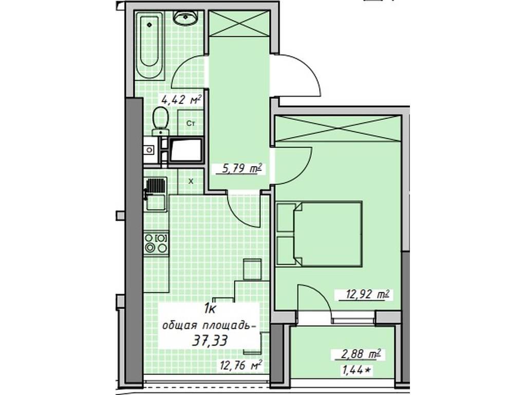 1-комнатная квартира, 37.33 м2, 35500 у.е.