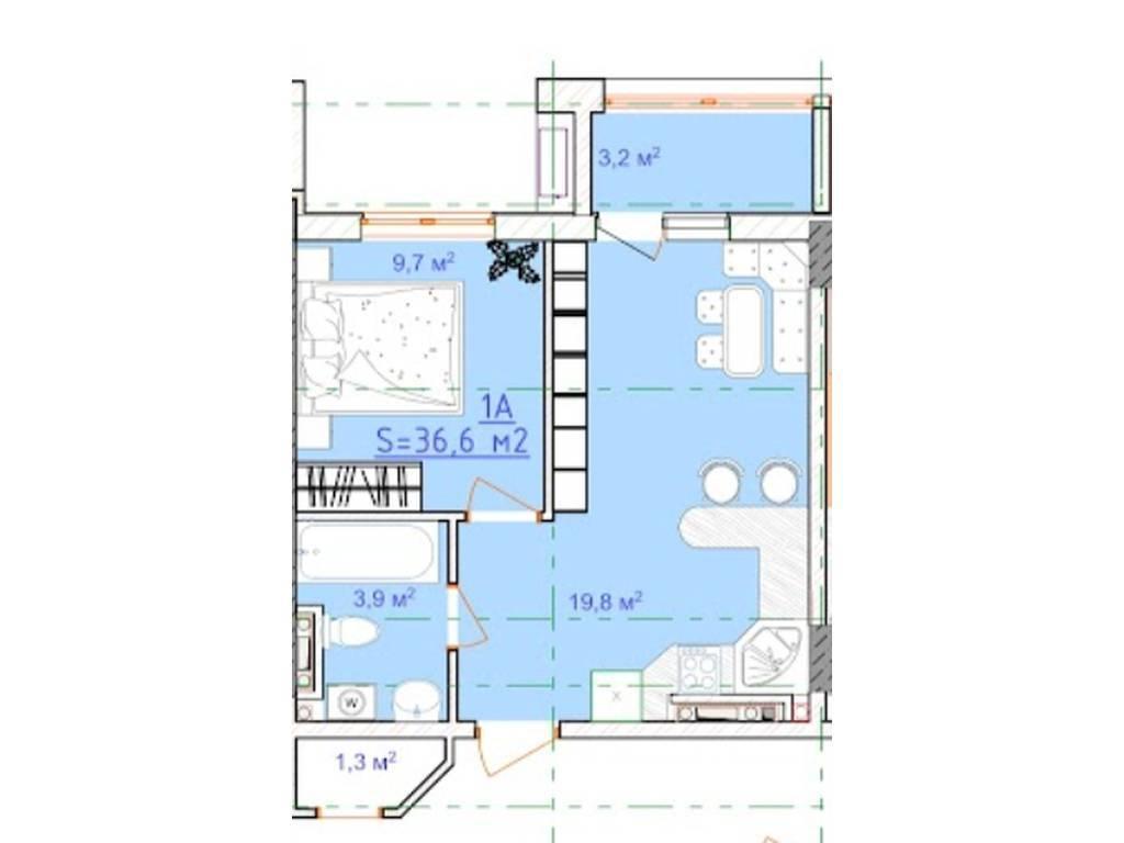 1-комнатная квартира, 36.60 м2, 26000 у.е.