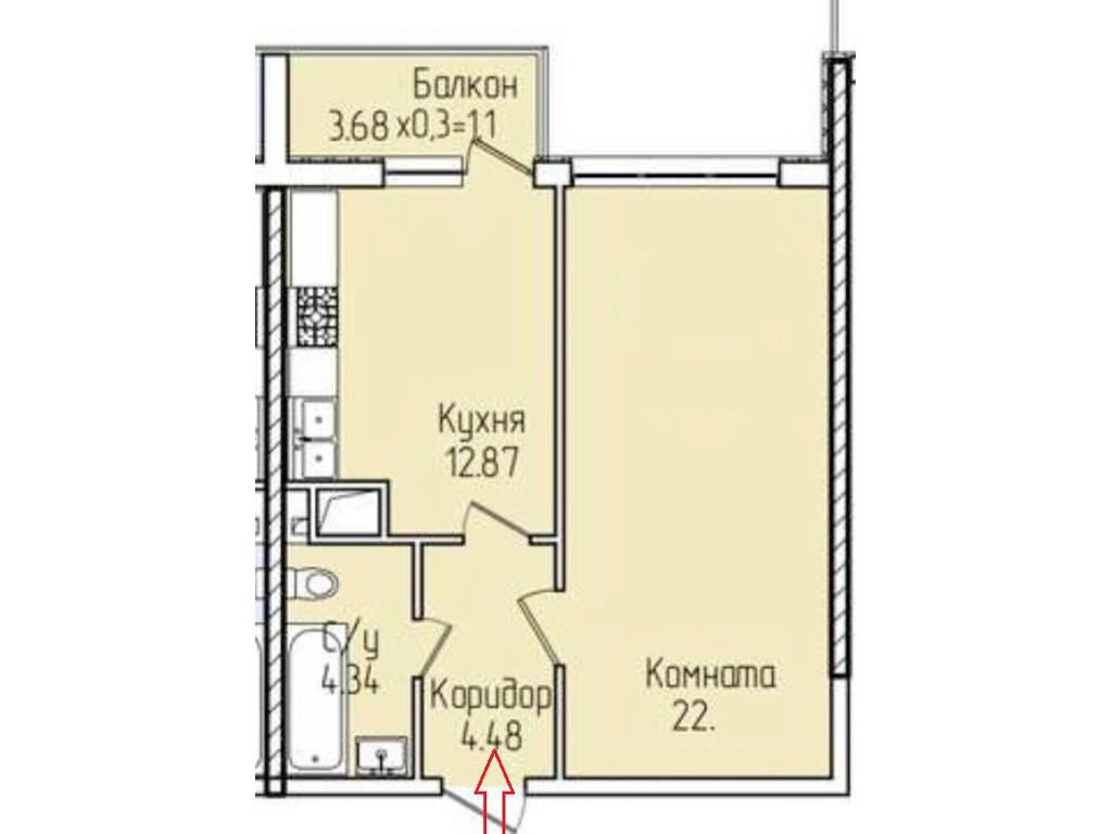 1-комнатная квартира, 43.00 м2, 37000 у.е.
