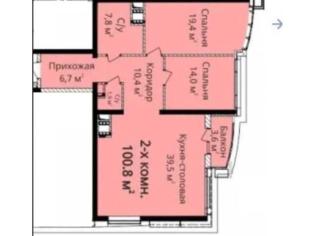 2-комнатная квартира, 100.80 м2, 115000 у.е.