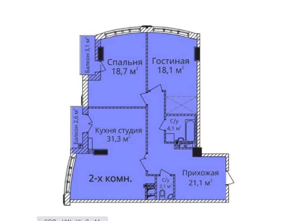 2-комнатная квартира, 100.00 м2, 299000 у.е.