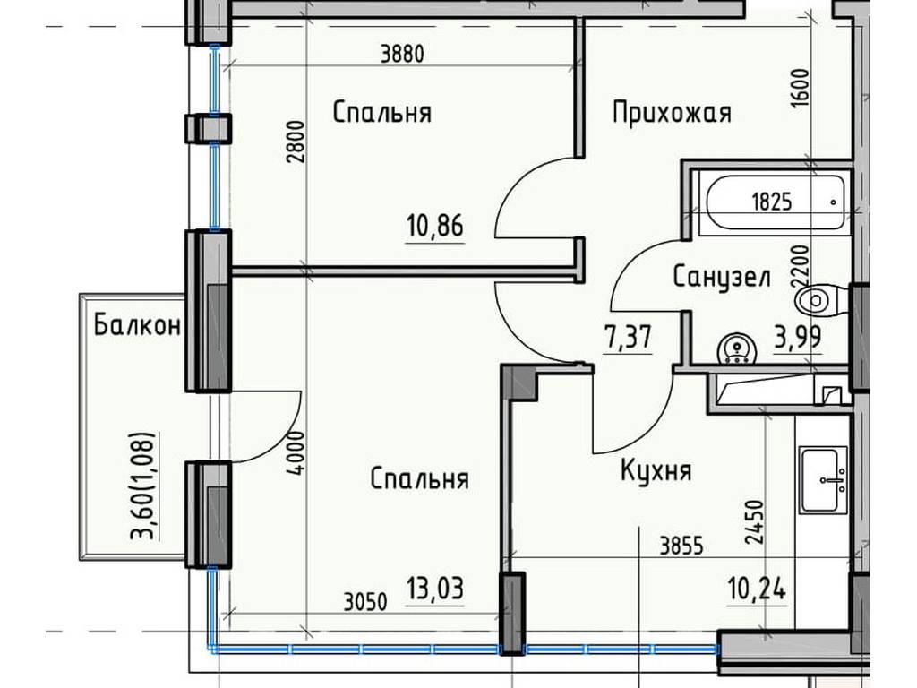 2-комнатная квартира, 46.57 м2, 42612 у.е.