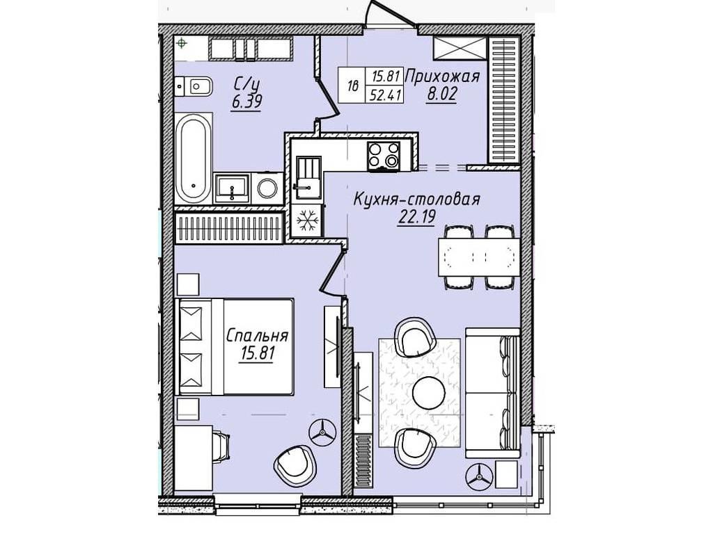 1-комнатная квартира, 52.20 м2, 59508 у.е.