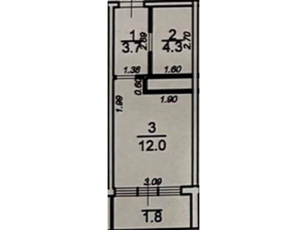 1-комнатная квартира, 21.80 м2, 29430 у.е.