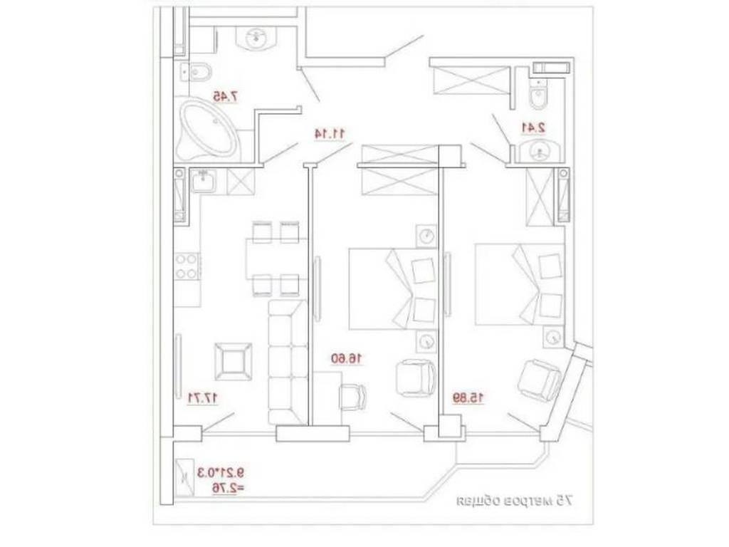 2-комнатная квартира, 74.00 м2, 90000 у.е.