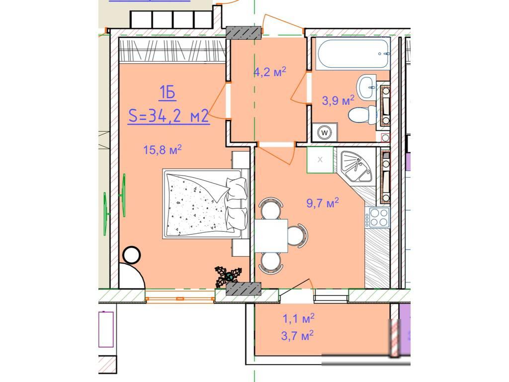 1-комнатная квартира, 34.20 м2, 25500 у.е.