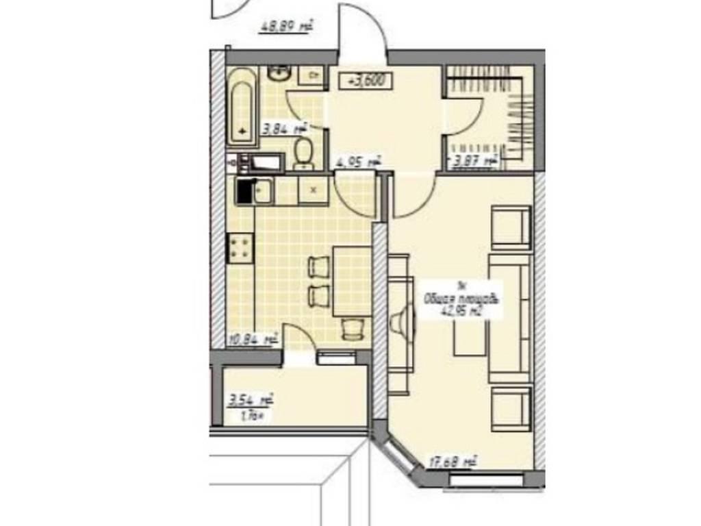1-комнатная квартира, 43.00 м2, 70000 у.е.