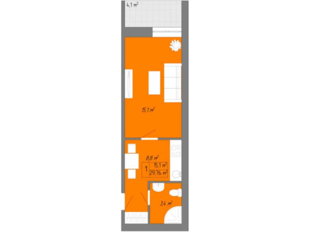 1-комнатная квартира, 29.76 м2, 21000 у.е.
