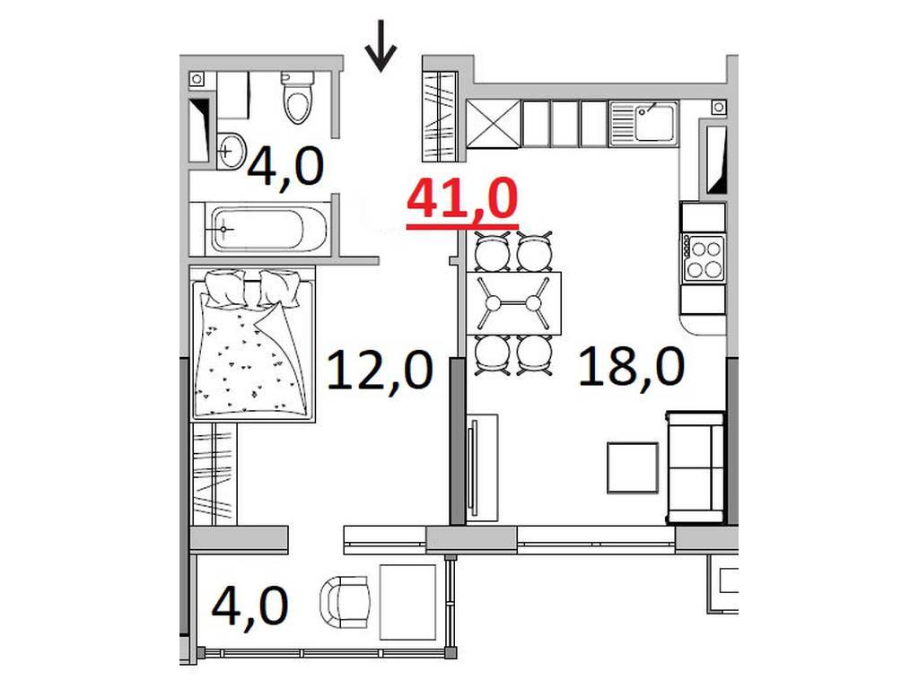 1-комнатная квартира, 41.00 м2, 31600 у.е.