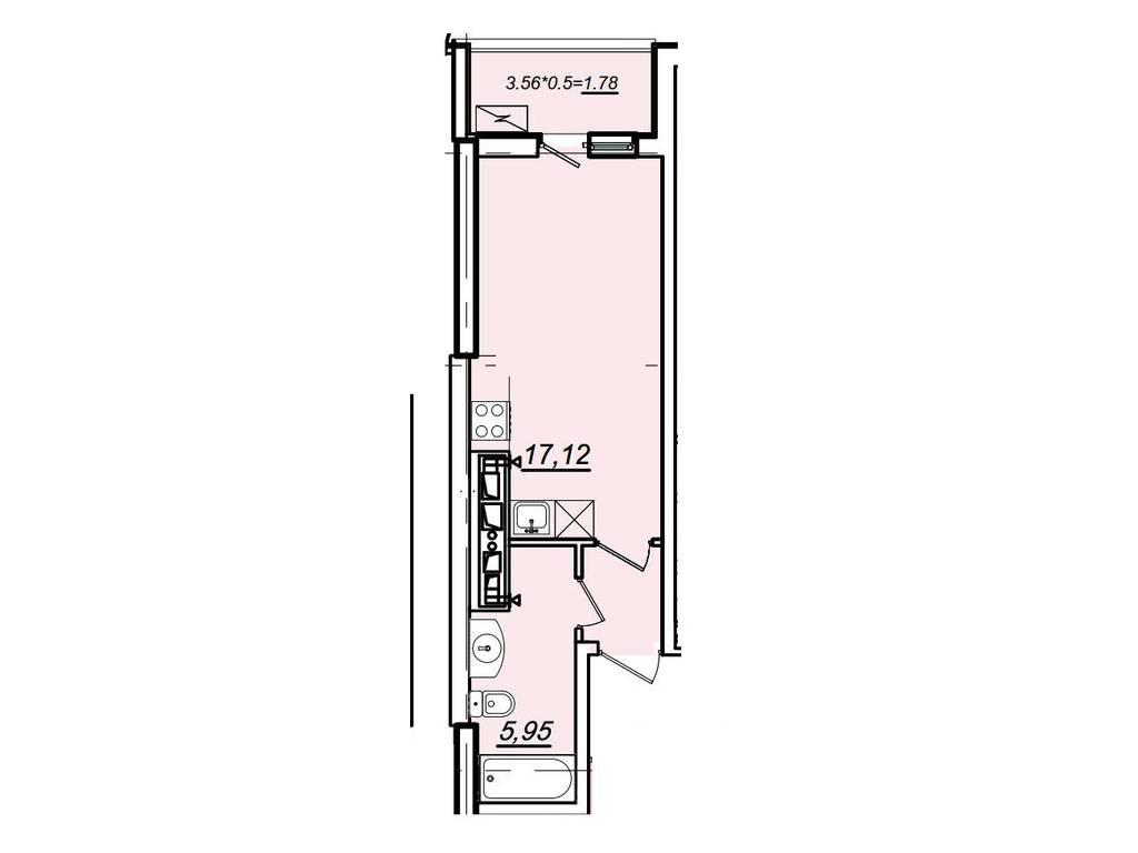 1-комнатная квартира, 27.00 м2, 31200 у.е.