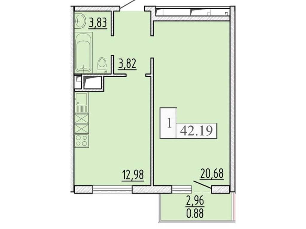 1-комнатная квартира, 42.19 м2, 31432 у.е.