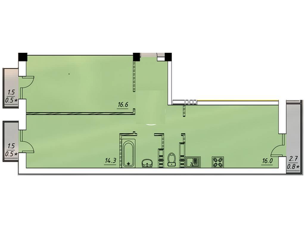 2-комнатная квартира, 60.60 м2, 50300 у.е.