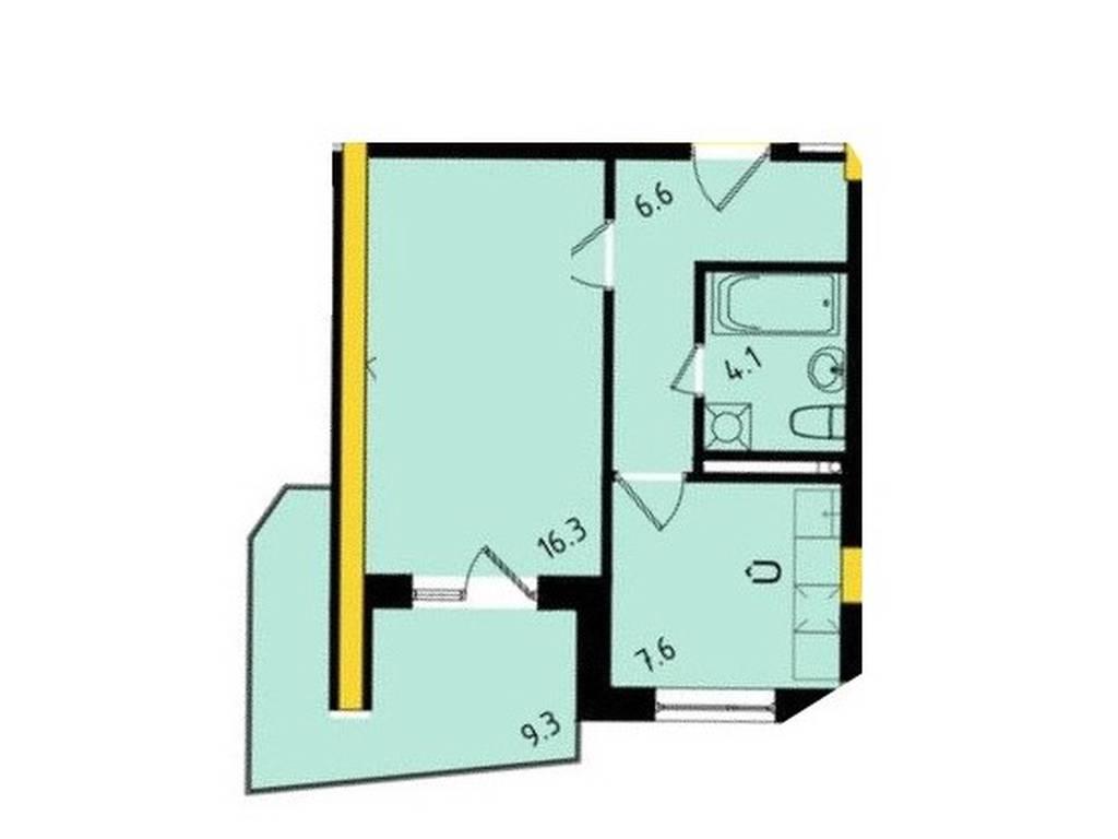 1-комнатная квартира, 37.39 м2, 33420 у.е.