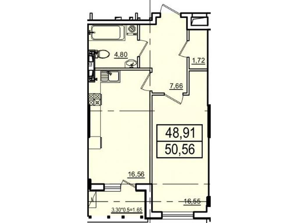 1-комнатная квартира, 50.54 м2, 54078 у.е.