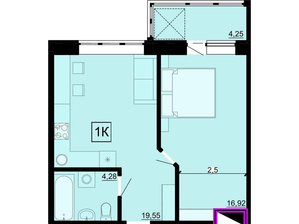 1-комнатная квартира, 38.00 м2, 27630 у.е.