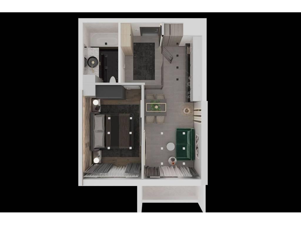 1-комнатная квартира, 42.45 м2, 33918 у.е.