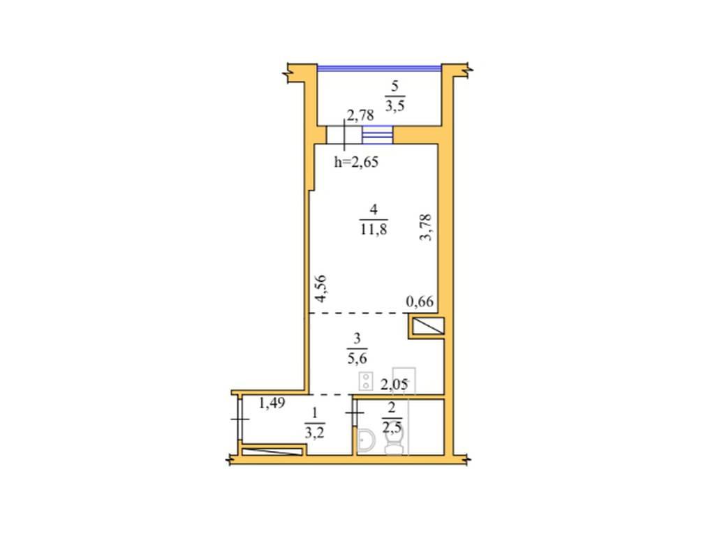 1-комнатная квартира, 26.60 м2, 29000 у.е.
