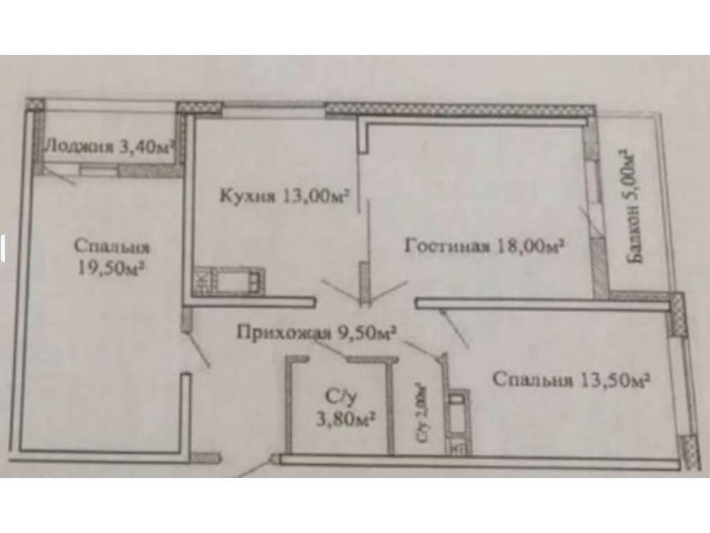 3-комнатная квартира, 86.90 м2, 73450 у.е.