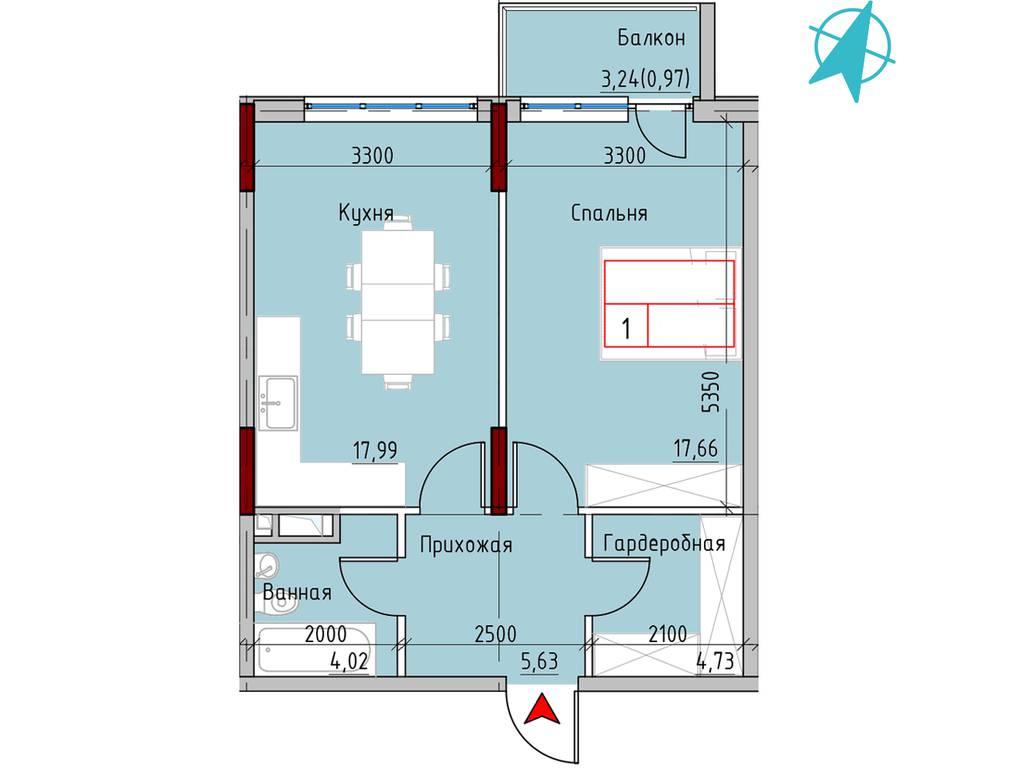 1-комнатная квартира, 52.60 м2, 57334 у.е.