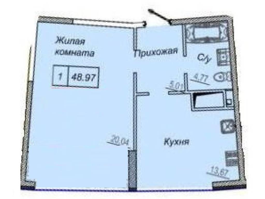 1-комнатная квартира, 49.00 м2, 87000 у.е.