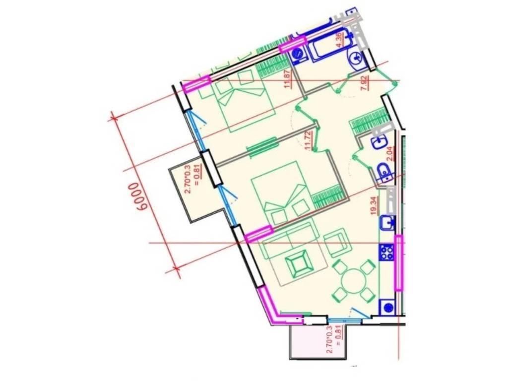 2-комнатная квартира, 60.00 м2, 72680 у.е.