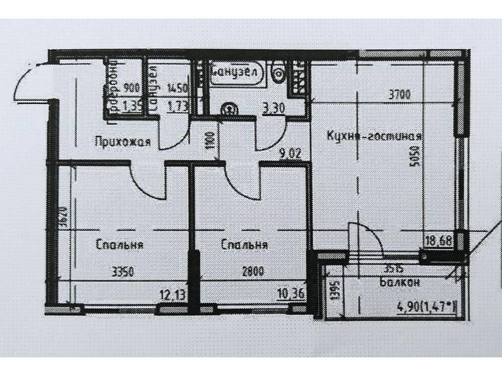 2-комнатная квартира, 58.00 м2, 76800 у.е.