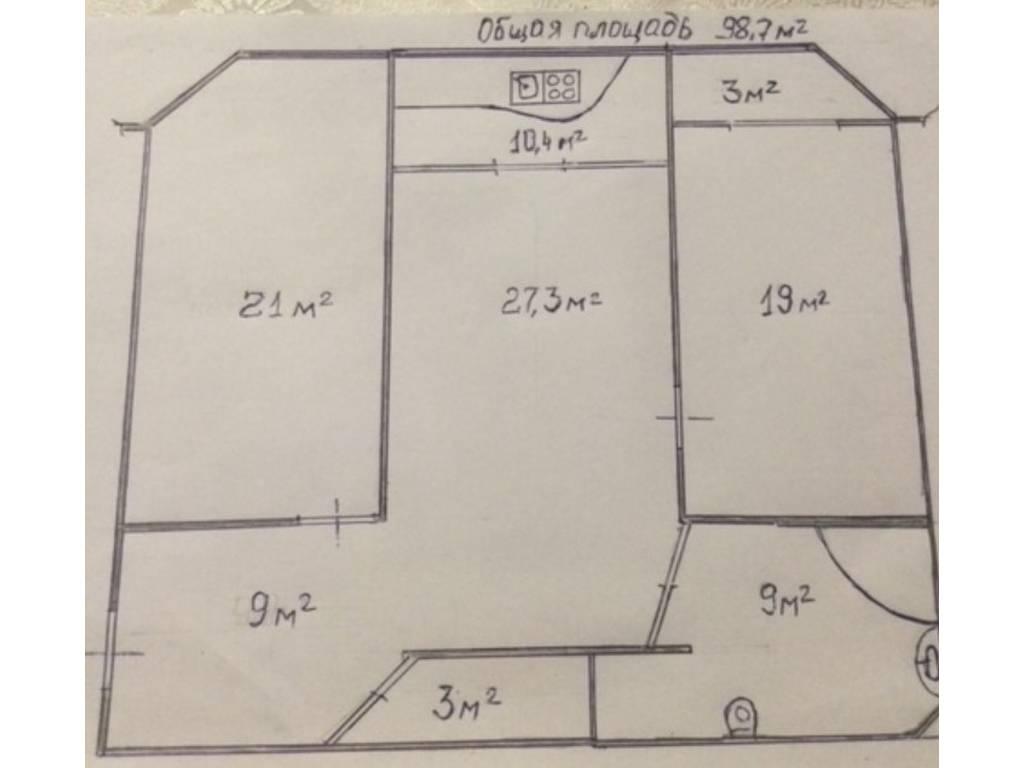 3-комнатная квартира, 98.00 м2, 90000 у.е.
