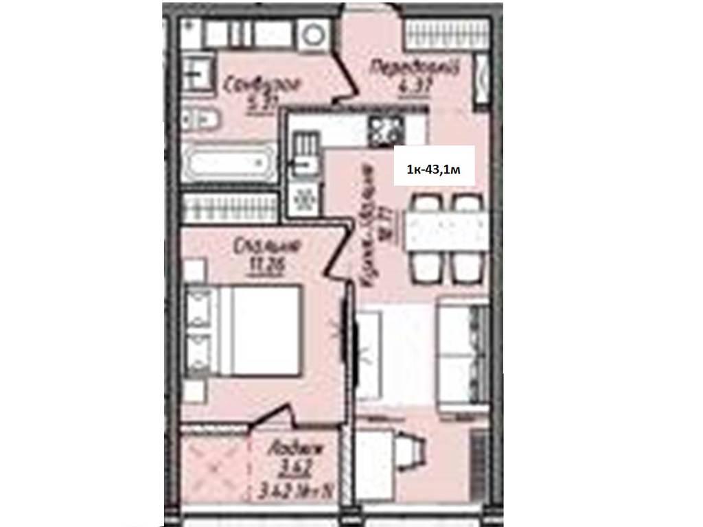 1-комнатная квартира, 43.10 м2, 34049 у.е.