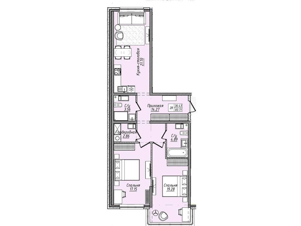 2-комнатная квартира, 83.20 м2, 88200 у.е.