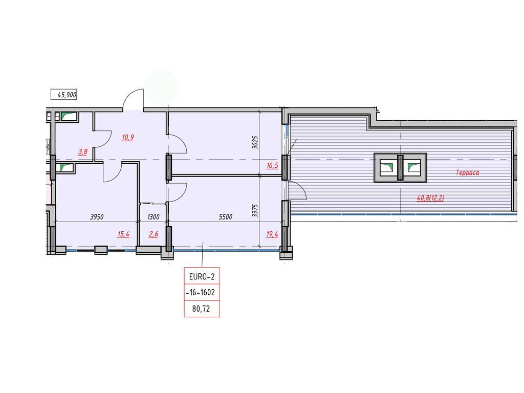 2-комнатная квартира, 80.72 м2, 75877 у.е.