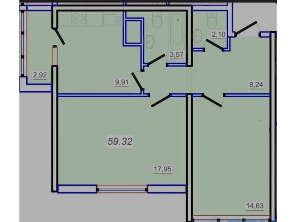 2-комнатная квартира, 60.00 м2, 47000 у.е.