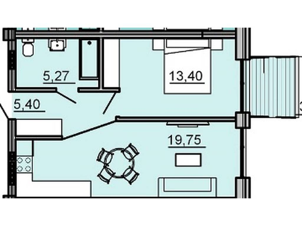 1-комнатная квартира, 44.59 м2, 51279 у.е.