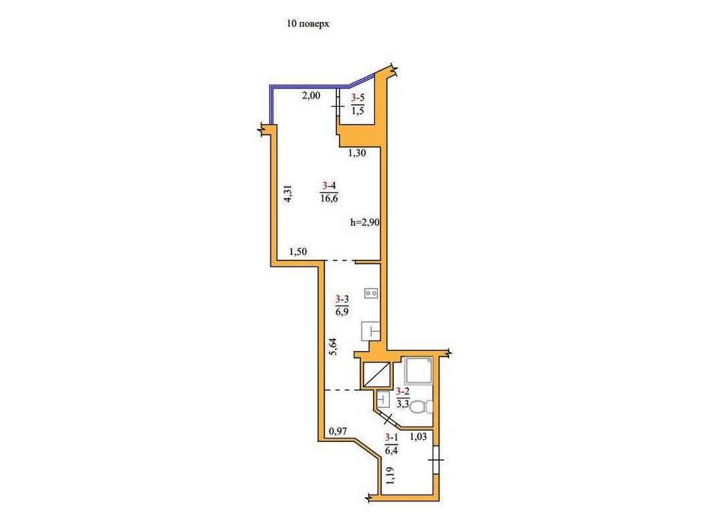 1-комнатная квартира, 35.00 м2, 33000 у.е.
