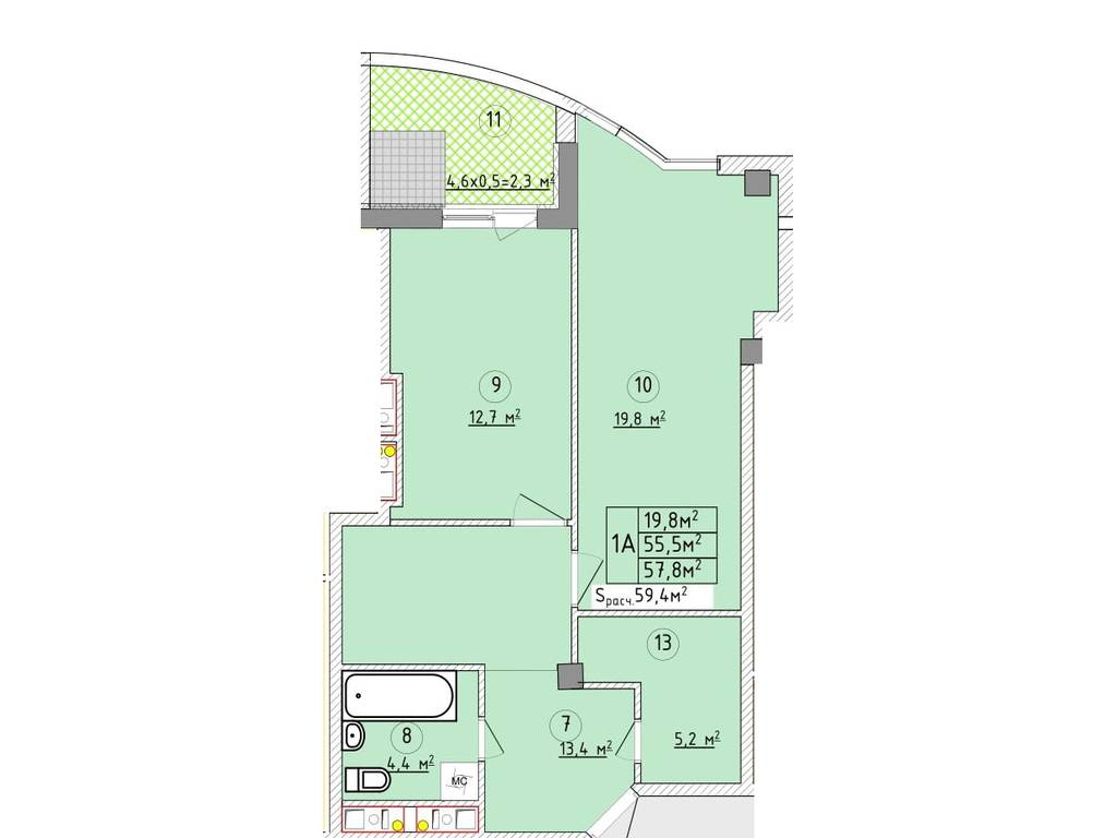 1-комнатная квартира, 60.70 м2, 84675 у.е.